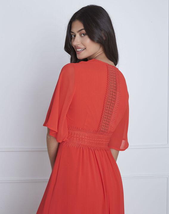 Helene red wrap-over macramé dress (4) - Maison 123