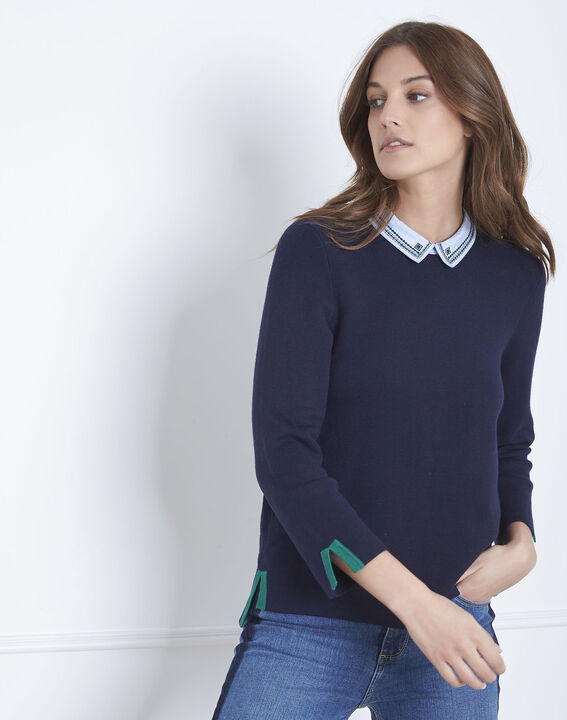 Altesse navy jumper with decorative neckline (2) - Maison 123