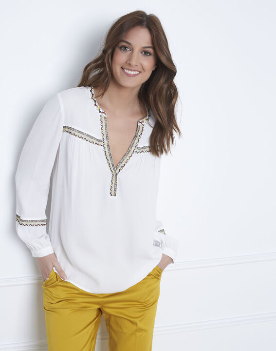 Violette ethnic embroidered beige blouse PhotoZ | 1-2-3