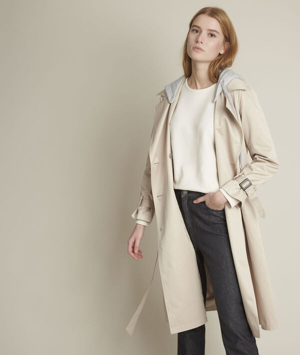 Florienne long hooded beige trench coat PhotoZ | 1-2-3