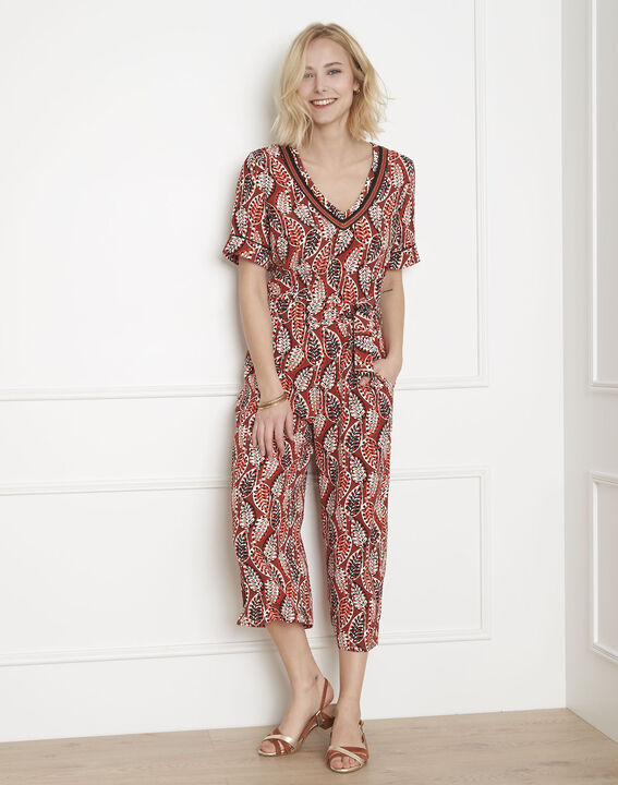 Lucy mahogany printed cropped jumpsuit PhotoZ   1-2-3