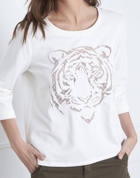 Pondichéry ecru pullover with tiger head and see-through details (3) - Maison 123