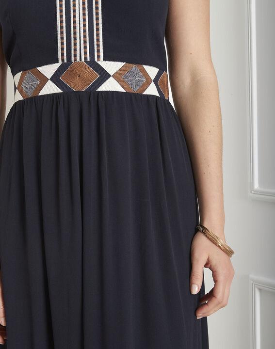 Lindsay navy embroidered ethnic dress (4) - Maison 123