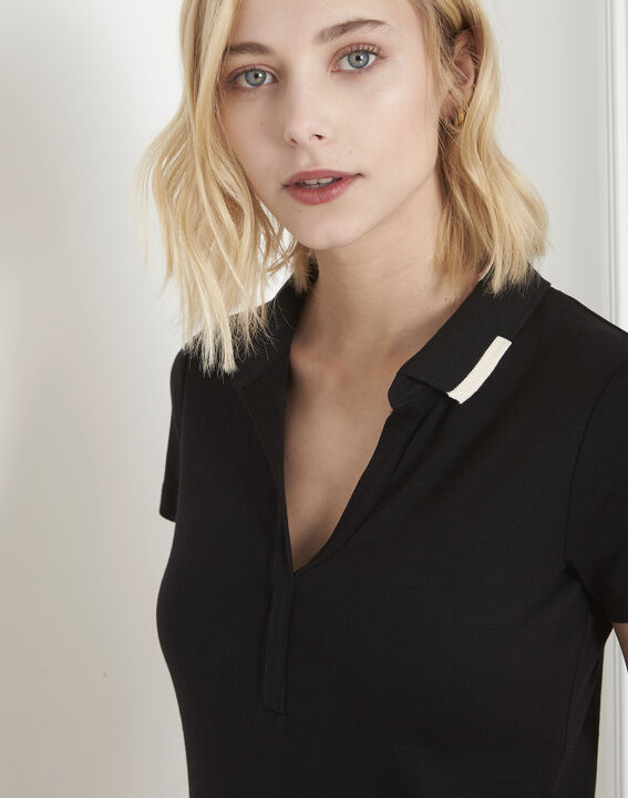 Prudence black T-shirt with polo-shirt neck (3) - Maison 123