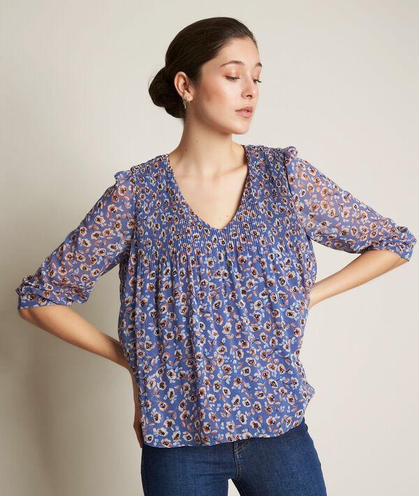 Eva pleated printed blouse PhotoZ   1-2-3