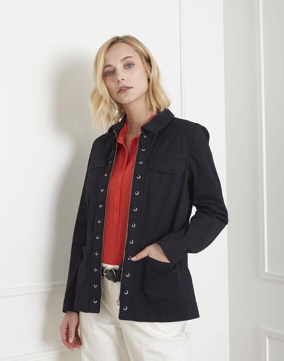 Folly navy cotton jacket with pockets PhotoZ   1-2-3