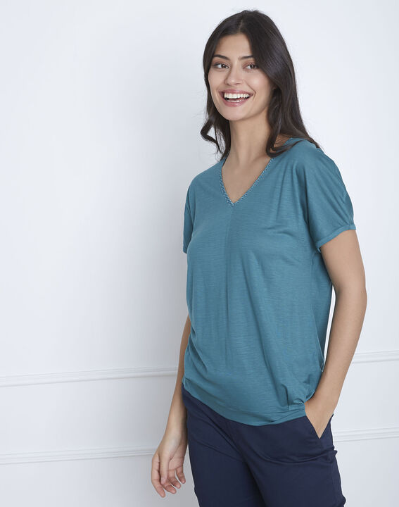 Papaye green T-shirt with lace neckline PhotoZ | 1-2-3