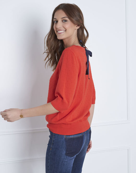 Adriana red 3D knit pullover with grosgrain bow (4) - Maison 123