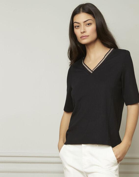 Pluie black lurex V-neckline T-shirt (2) - Maison 123