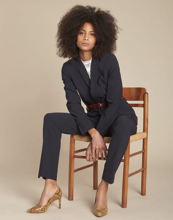 Lara navy microfibre trousers (2) - Maison 123