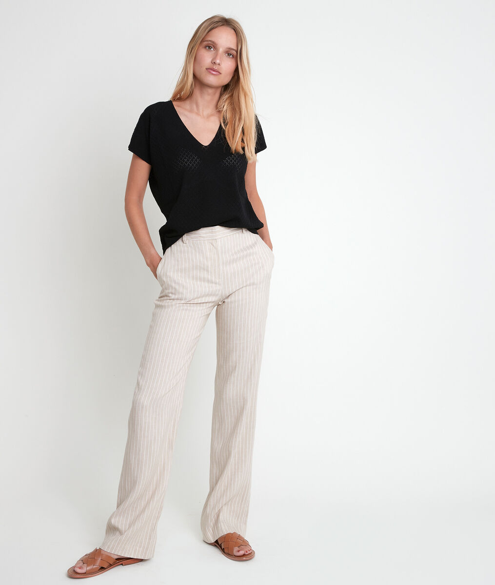 Milo wide beige striped trousers PhotoZ | 1-2-3