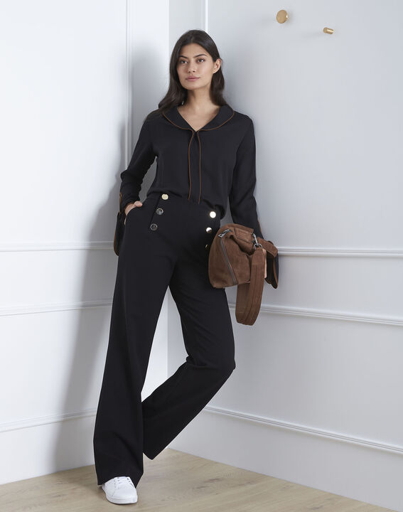 Victoire black blouse with contrasting bias (1) - Maison 123