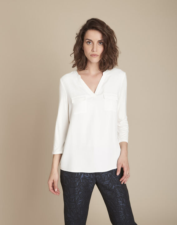 Bimaterial ecru blouse with Genna Henly collar  (1) - Maison 123