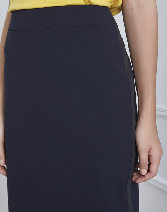 Fancy straight-cut navy skirt with microfibre side stripe (3) - Maison 123