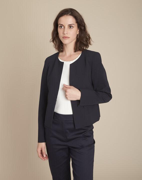 Charme navy microfibre jacket with flap pockets PhotoZ   1-2-3