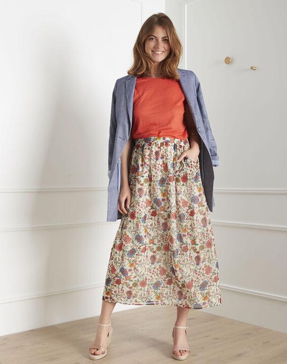 Samba ecru floral print skirt PhotoZ | 1-2-3