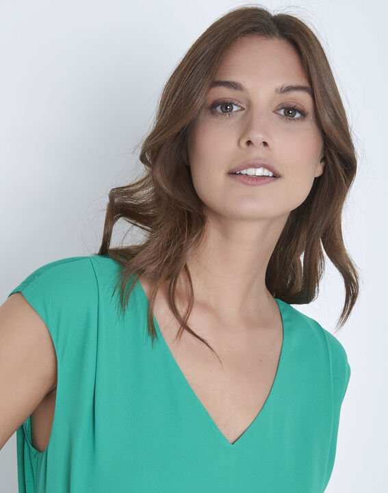 Neptune green dual-material blouse (3) - Maison 123