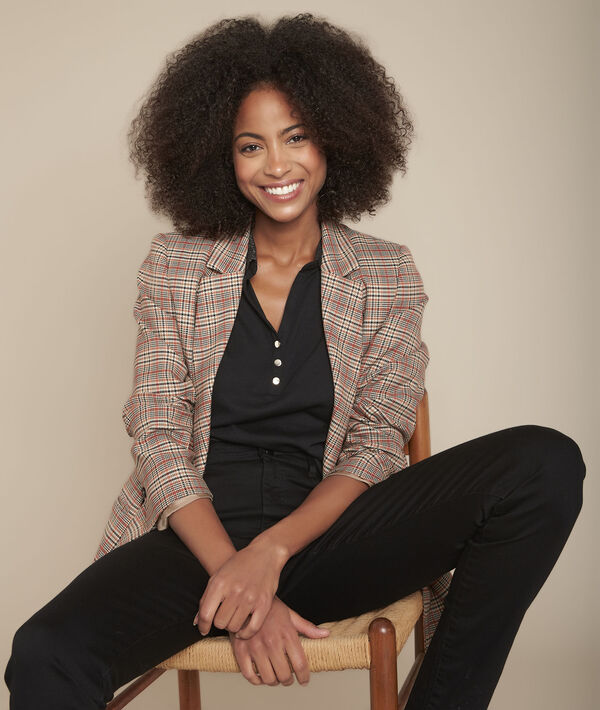 Claudia black polo shirt with lurex collar PhotoZ | 1-2-3