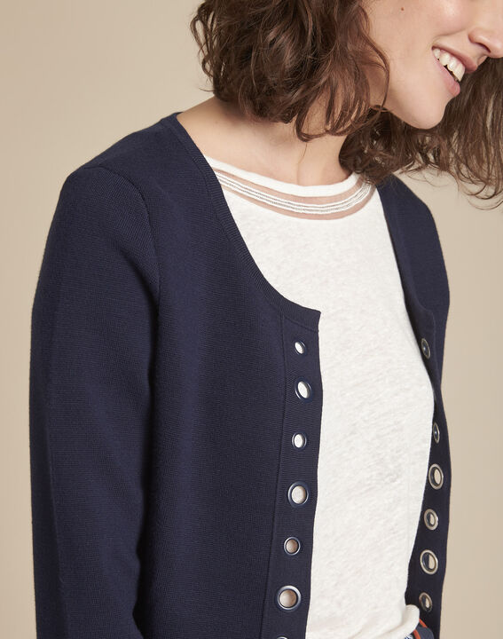 Abricotier navy cardigan with compact eyelets  (3) - Maison 123