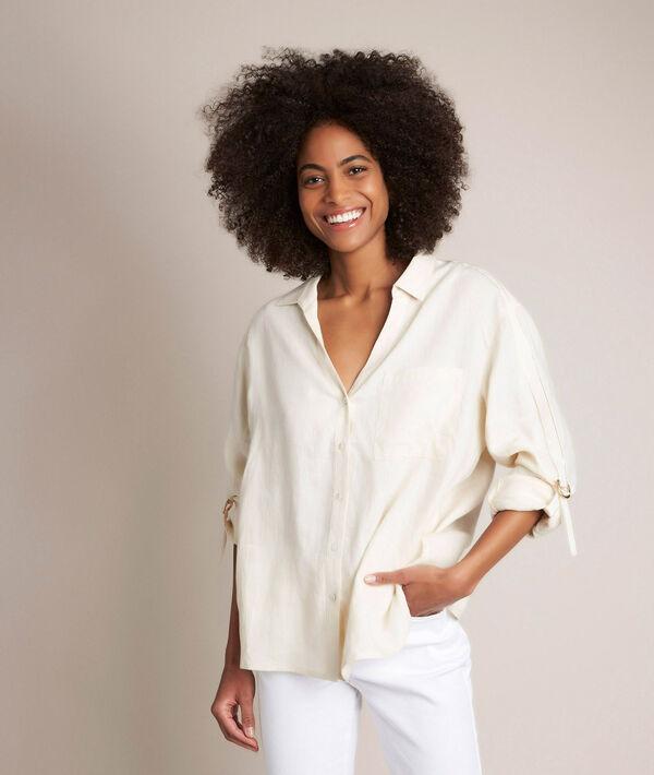 Cathleen ivory linen shirt PhotoZ | 1-2-3