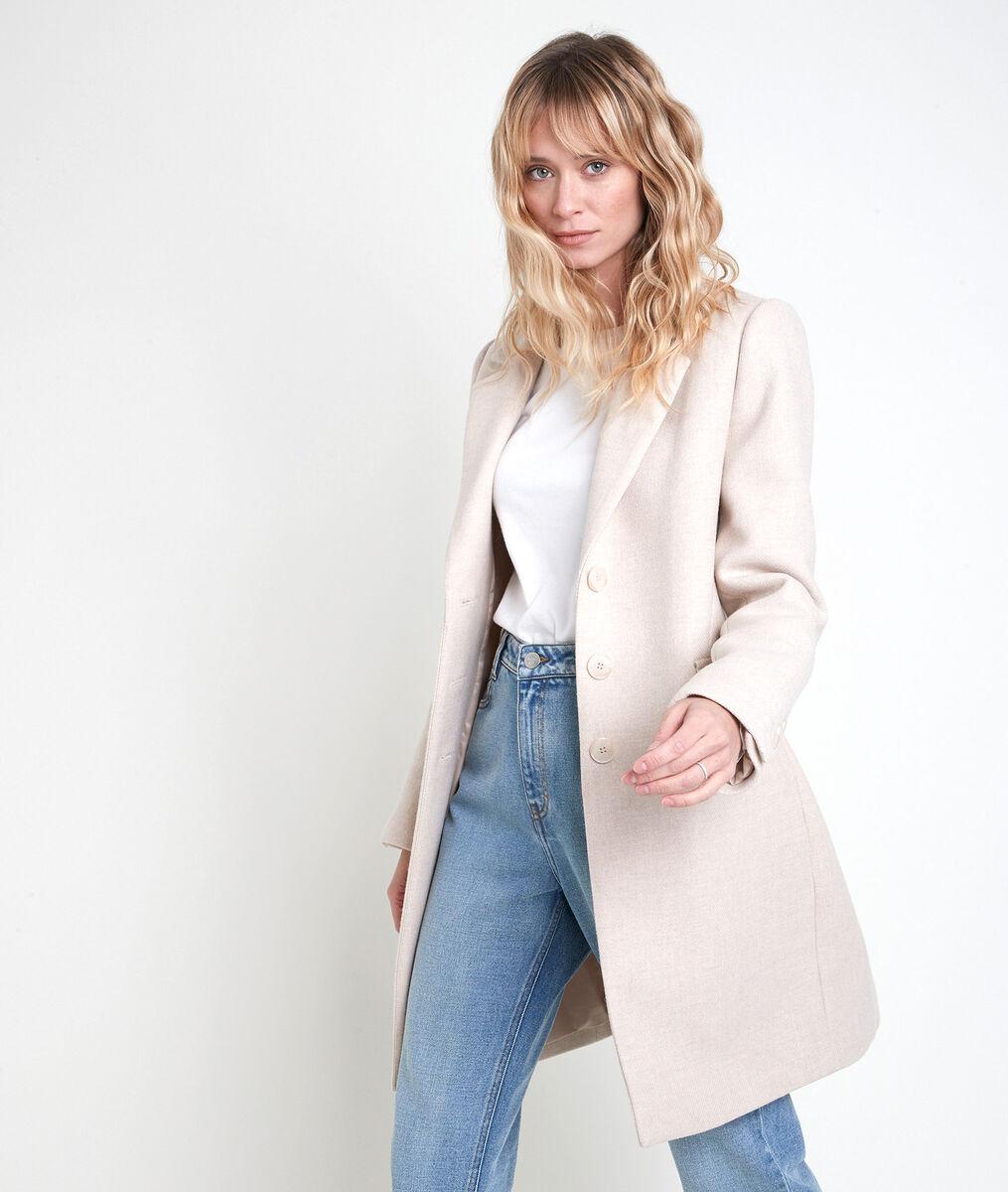 Plume straight cream wool coat PhotoZ   1-2-3