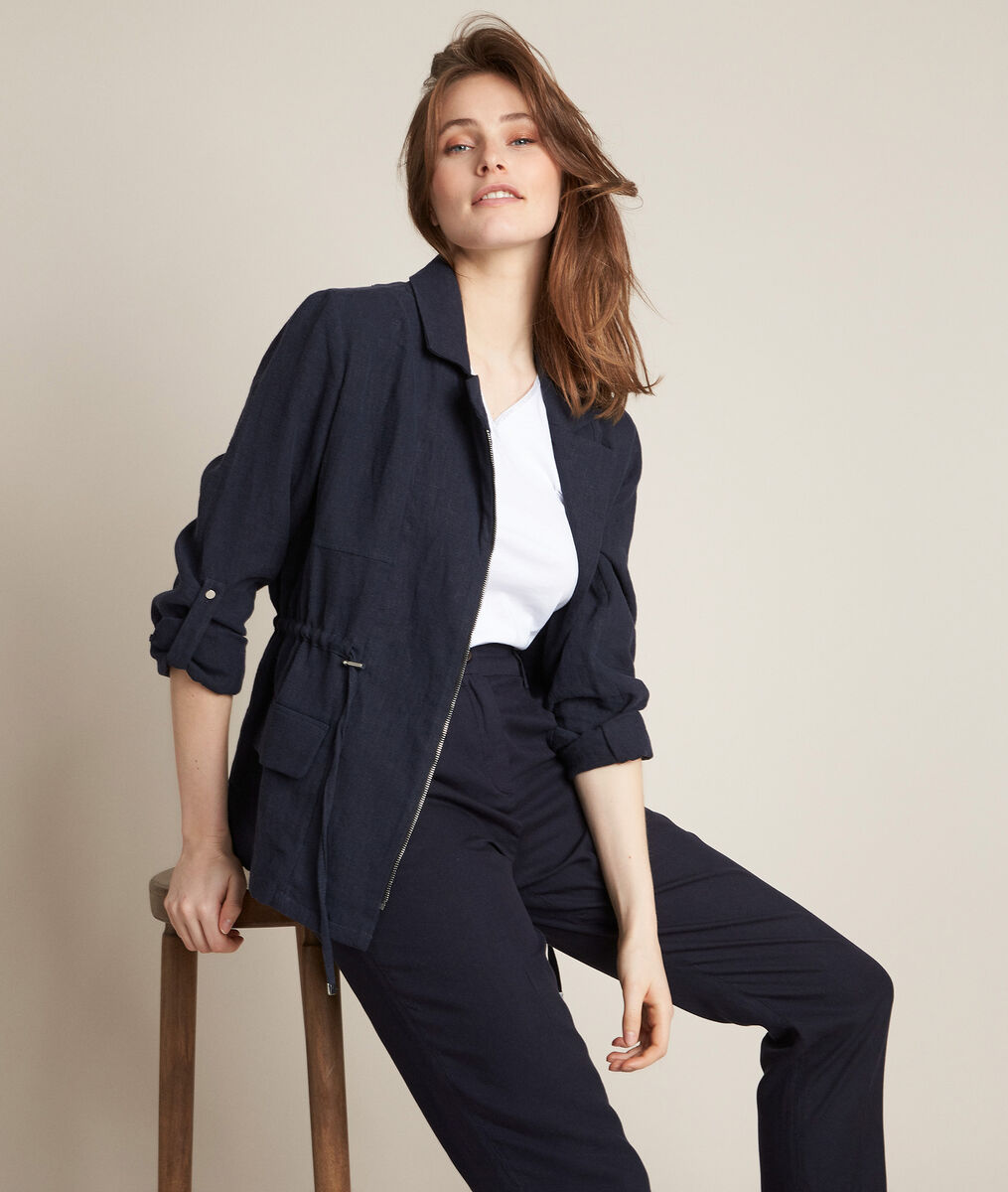 Lucie navy linen safari jacket PhotoZ | 1-2-3
