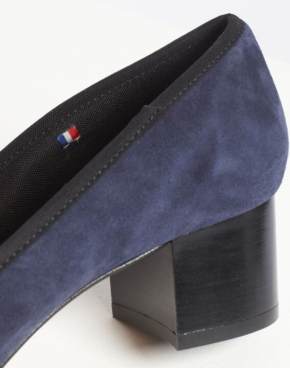 Kalista navy velvet-effect shoes with square heels (5) - Maison 123