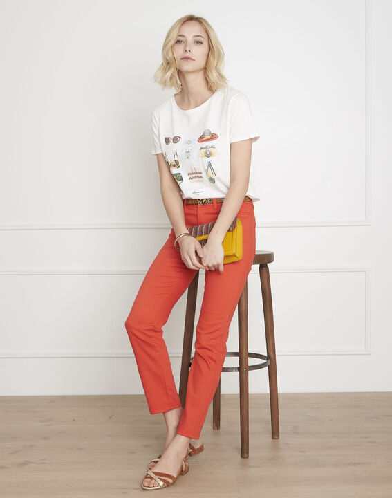 Opera coral straight jeans with pocket plait detail PhotoZ   1-2-3