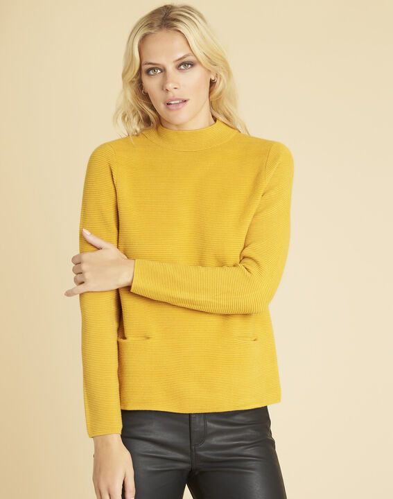 Pull ocre maille fine col montant Belize PhotoZ | 1-2-3