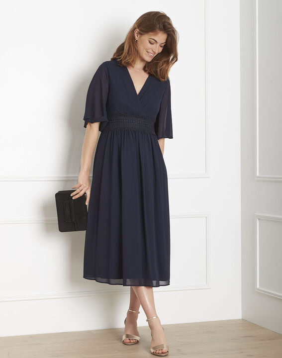 Helene navy wrap-over macramé dress (2) - Maison 123