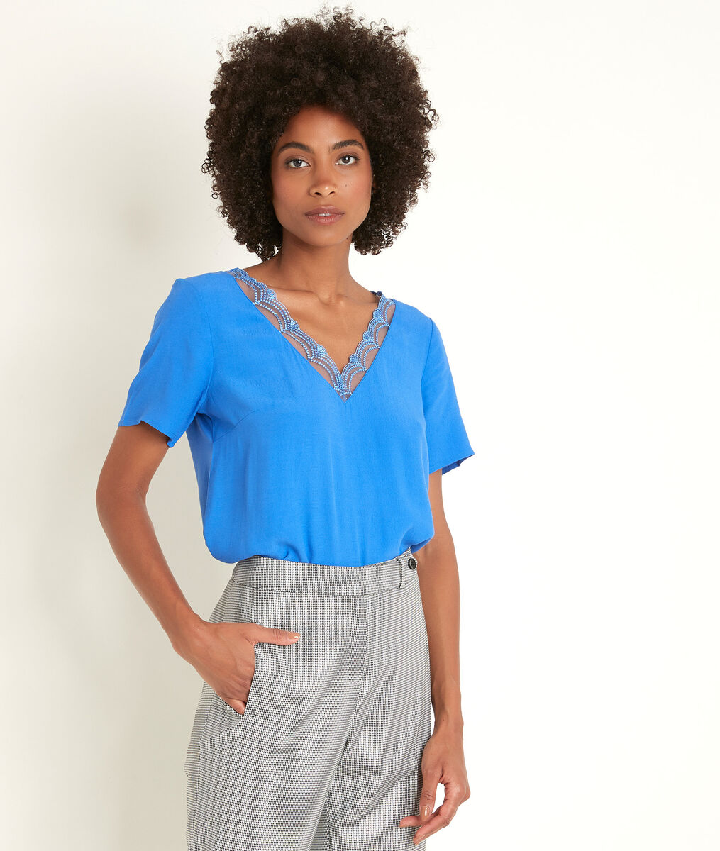 Divine bis Klein blue dual-fabric top PhotoZ | 1-2-3