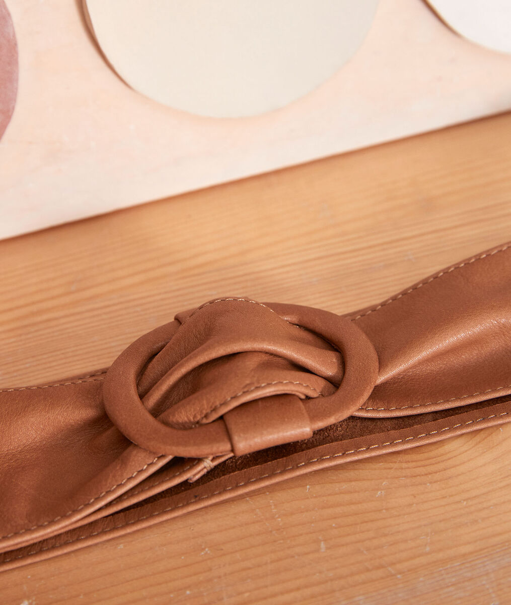 Elya wide camel-coloured leather belt PhotoZ | 1-2-3