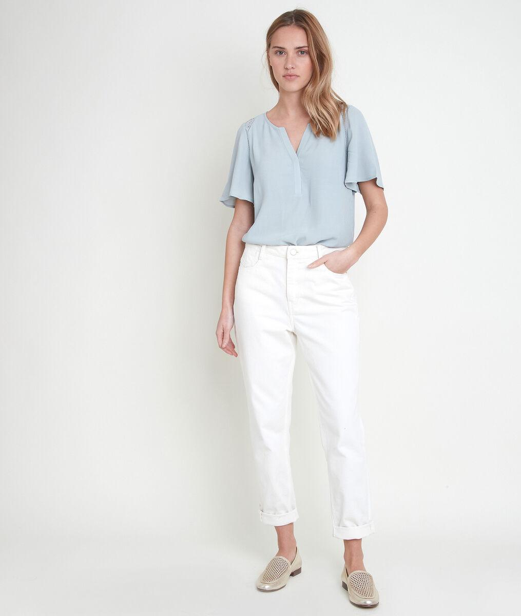 DONNA mint-coloured dual-fabric top PhotoZ | 1-2-3