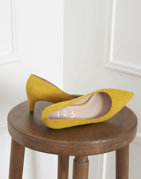 Lili yellow suede leather high heels (2) - Maison 123