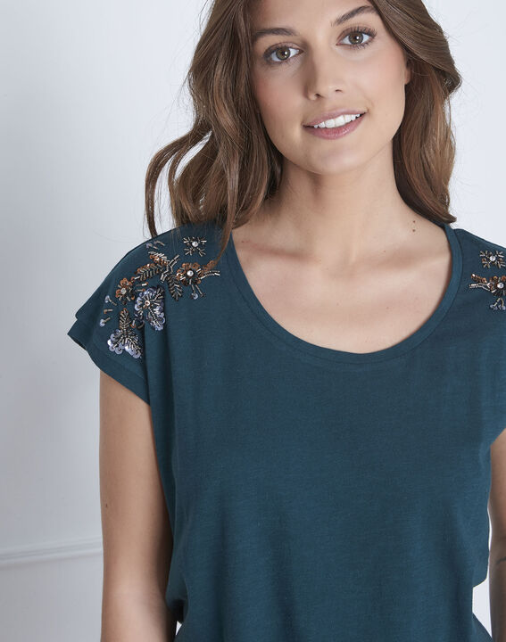 Paola dark green embroidered T-shirt (3) - Maison 123