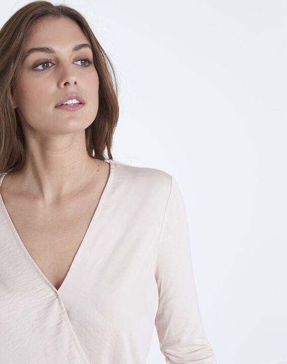 Vanina crossover neckline top bimaterial powdered blouse (3) - Maison 123