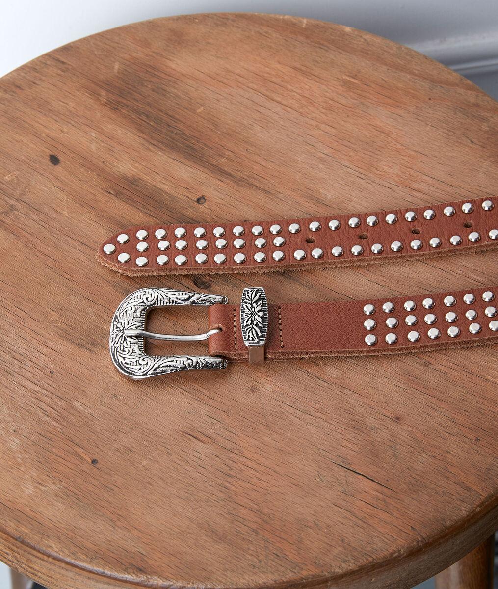 SHARLEEN camel-coloured studded belt PhotoZ | 1-2-3