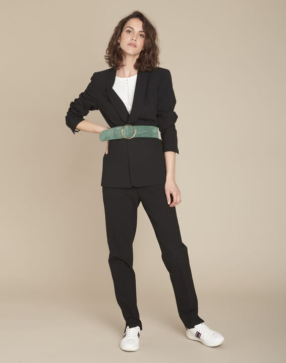 Stella black microfibre shawl collar jacket PhotoZ | 1-2-3