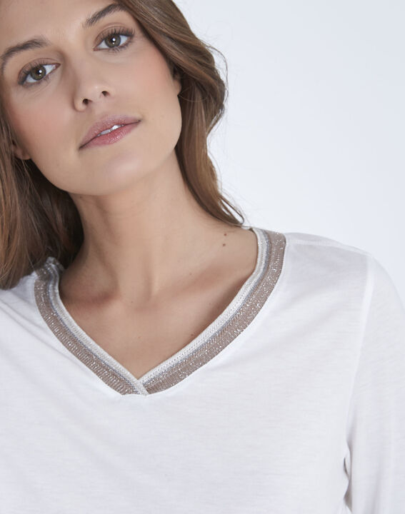 Beige T-shirt with lurex sequin neckline (3) - Maison 123