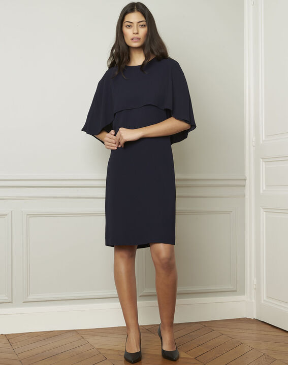 Heidi navy dress with cape detail  (2) - Maison 123