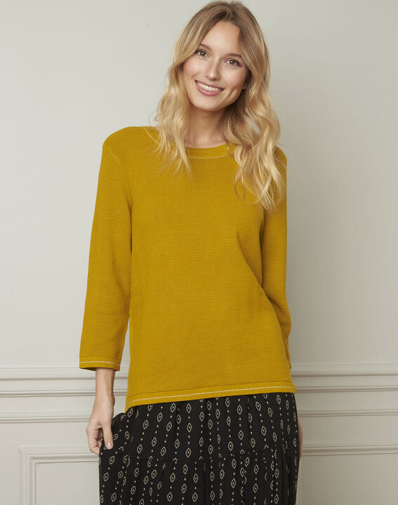 Avocado yellow pullover with buttons and lurex details PhotoZ   1-2-3