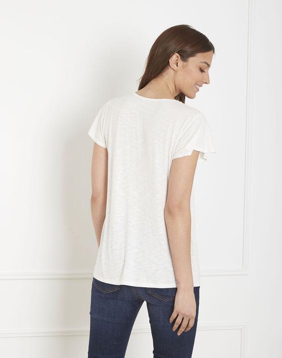 Penelope ecru T-shirt with decorative neck (4) - Maison 123