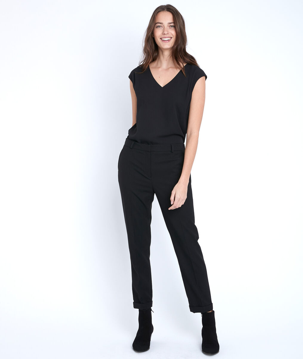 Neptune black two-fabric blouse PhotoZ   1-2-3