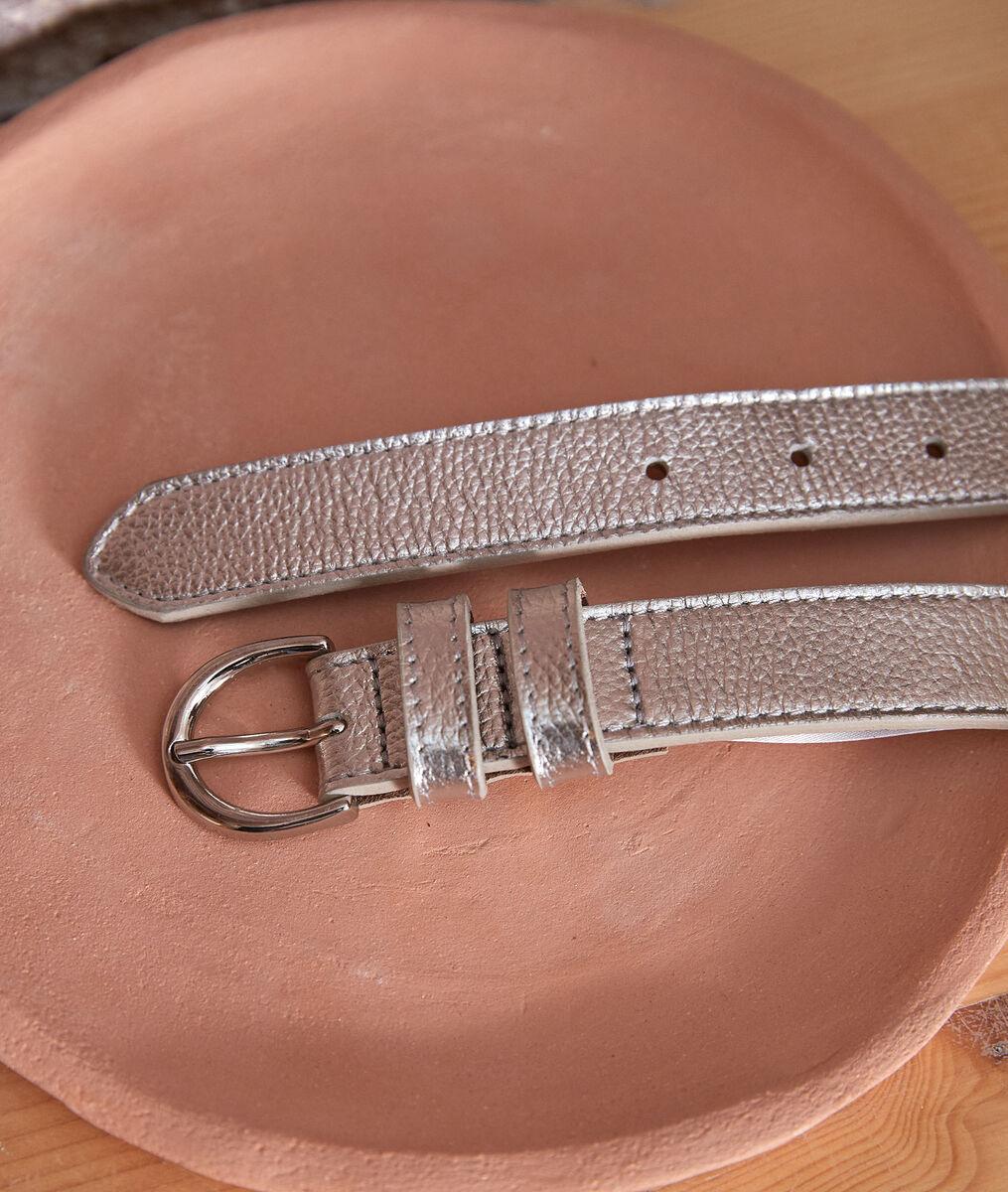 Eglantine silver-coloured leather belt PhotoZ   1-2-3