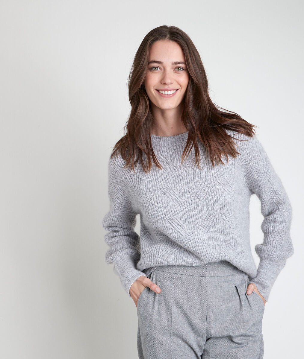 Aleka grey wool blend jumper PhotoZ | 1-2-3