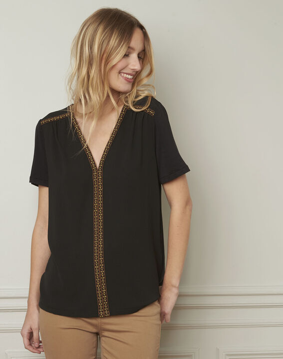 Valentine embroidered black blouse (2) - Maison 123