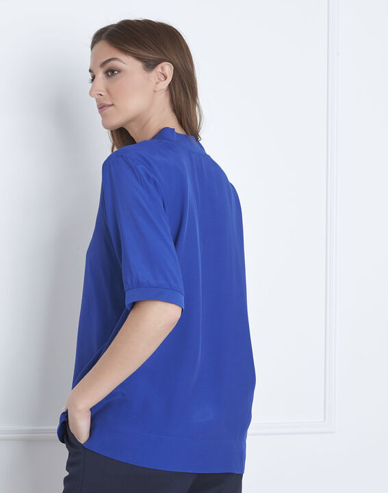 Virginie blue V-neck flowing blouse (4) - Maison 123