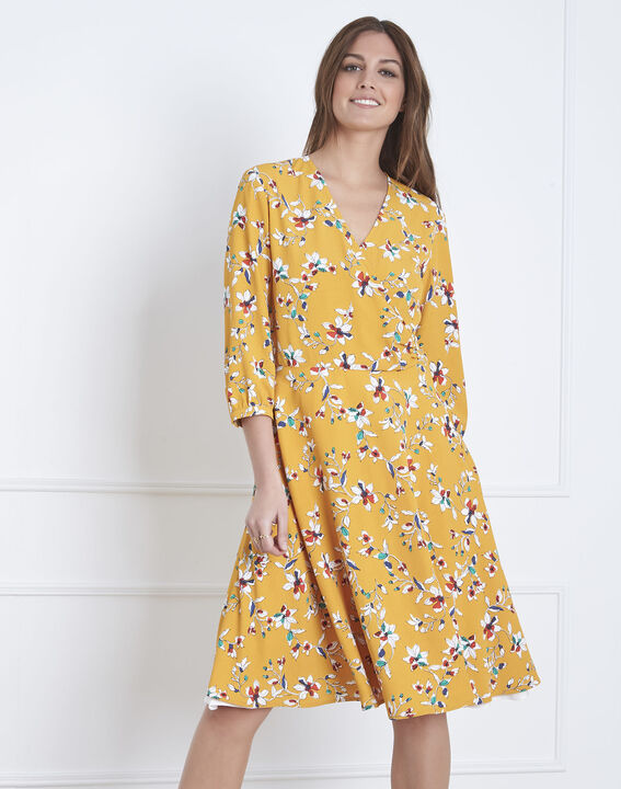 Laurene yellow floral print wrap dress PhotoZ | 1-2-3