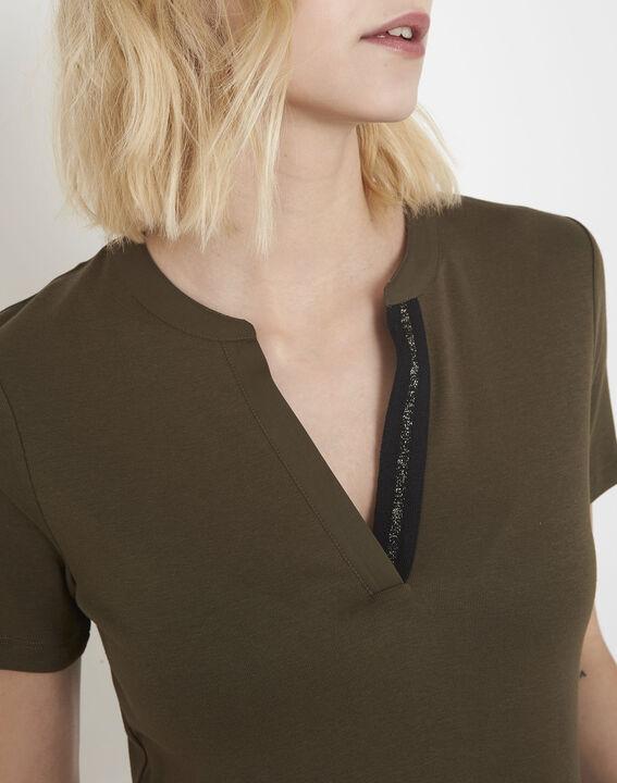 Priscille khaki bias-cut lurex T-shirt (3) - Maison 123