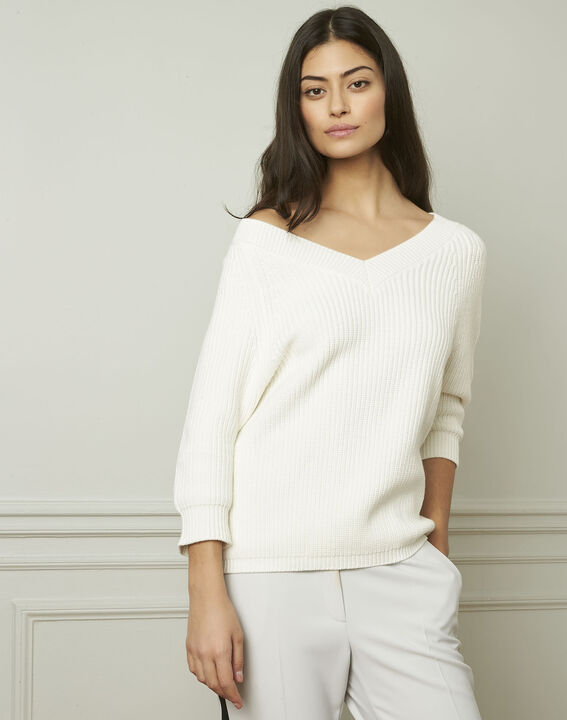 Ankara cream cotton and wool blend V-neck pullover (1) - Maison 123